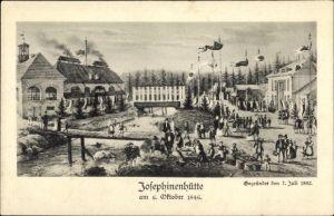 Künstler Ak Szklarska Poręba Schreiberhau Riesengebirge Schlesien, Josephinenhütte 1846, Glashütte