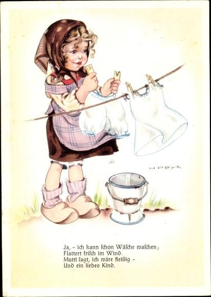 Künstler Ak Peyk, Hilla, Mädchen in Holzschuhen hängt Wäsche auf