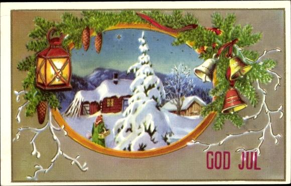 Ak Frohe Weihnachten, God Jul, Winterszene, Glocken, Laterne