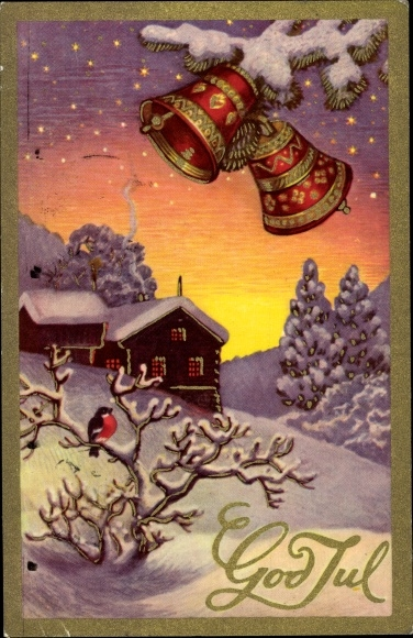 Ak Frohe Weihnachten, God Jul, Winterszene, Glocken