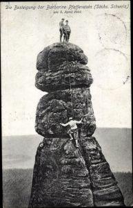 Ak Königstein an der Elbe Sächsische Schweiz, Besteigung der Barbarine Pfaffenstein am 8. April 1906