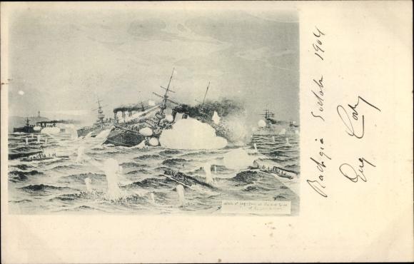 Künstler Ak Russisch Japanischer Krieg, Schlachtszene zwischen Kriegsschiffen