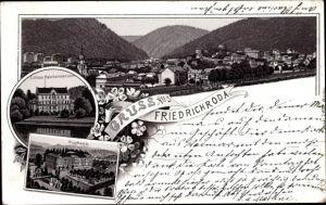 Litho Friedrichroda im Thüringer Wald, Schloss Reinhardsbrunn, Kurhaus