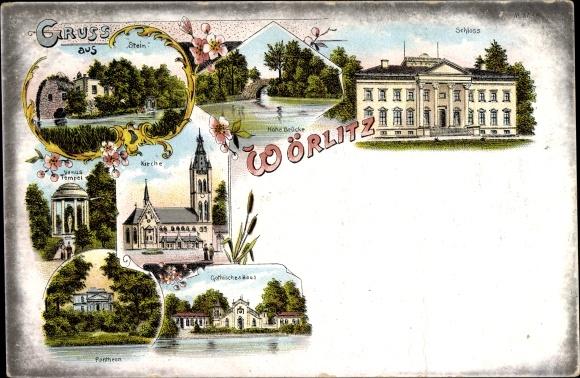 Litho Oranienbaum Wörlitz im Kreis Wittenberg, Stein, Schloss, Venustempel, Kirche, Gothisches Haus