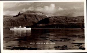 Ak Schottland, Loch Linnhie, Ben Nevis, Dampfschiff