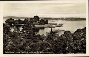 Ak Berlin Spandau Kladow, Havel Insel Imchen mit Blick auf Schwanenwerder