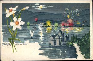 Litho Montreux Kt. Waadt Schweiz, Fete de Nuit, Panorama vom Ort, Feuerwerk, Blumen