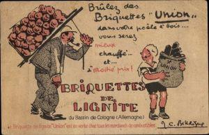 Künstler Ak Briquettes de Lignite, Briquettes Union
