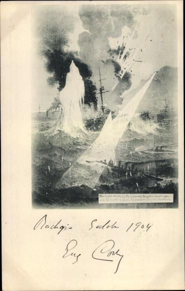 Künstler Ak Russisch Japanischer Krieg, Schlacht zwischen Kriegsschiffen