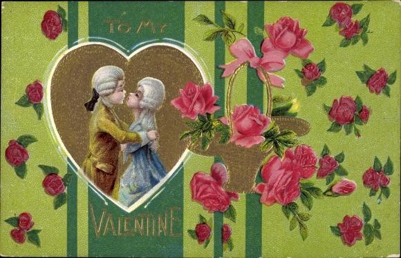 Litho Valentinstag, To my Valentine, küssendes Liebespaar, Rosen