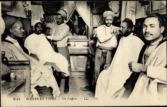 Ak Scenes et Types, un Coiffeur, Friseur, Araber, Maghreb