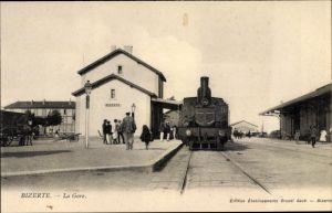 Ak Bizerte Tunesien, La Gare, Bahnhof, Dampflok