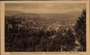 Ak Szklarska Poręba Schreiberhau Riesengebirge Schlesien, Blick ins Weissbachtal vom Bahnhof