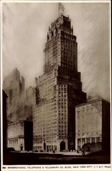 Ak New York City USA, Telephone and Telegraph Co. Building
