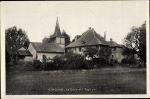 Ak Gingins Kt. Waadt Schweiz, La Cure et l'Eglise