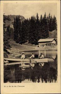 Ak Kanton Waadt, Au lac des Chavonnes, Ruderboot, Berghaus