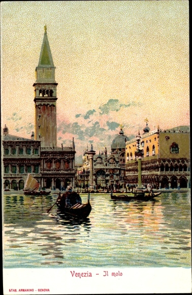 Litho Venezia Venedig Veneto, Il molo