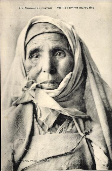 Ak Marokko, Vieille Femme marocaine, Portrait einer alten Frau, Maghreb