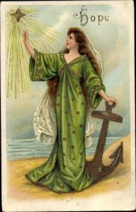 Präge Litho Allegorie, Hoffnung, Hope, Frau mit Anker