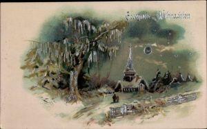 Präge Litho Glückwunsch Weihnachten, Winterlandschaft, Mond, Kirche