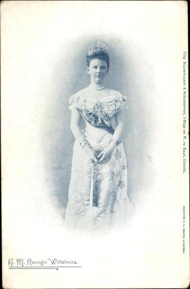 Ak HM Koningin Wilhelmina, Königin der Niederlande, Standportrait