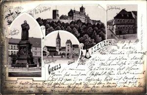 Litho Lutherstadt Eisenach in Thüringen, Luther Denkmal, Wartburg, Nikolaitor, Lutherhaus