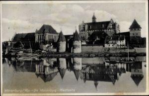 Ak Malbork Marienburg Westpreußen, Die Marienburg, Westseite