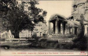Ak Kambodscha, Angkor Wat, Tempelruinen, Tour Centrale