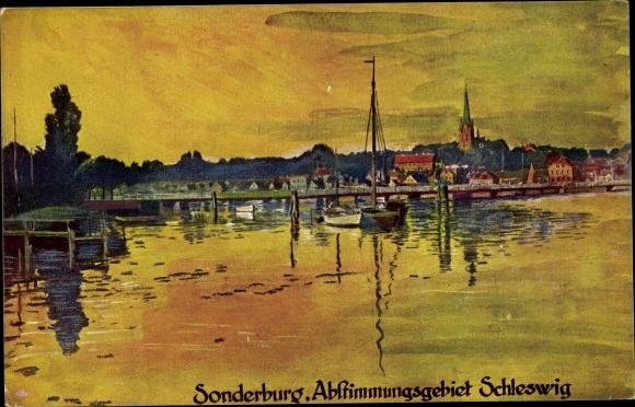Künstler Ak Sønderborg Sonderburg Dänemark, Abstimmungsgebiet Schleswig, Abendpartie am Wasser 0