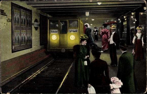 Ak Berlin Mitte, U Bahn, Spittelmarkt, Bahnhof, Gleisseite