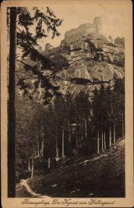 Ak Sobieszów Hermsdorf Kynast Riesengebirge Schlesien, Der Kynast vom Höllengrund gesehen