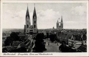 Ak Halberstadt in Sachsen Anhalt, Domplatz, Dom, Martinikirche