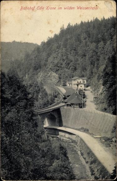 Ak Edle Krone Klingenberg im Osterzgebirge, Bahnhof, Gleisseite, Wildes Weisseritztal