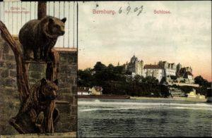 Ak Bernburg an der Saale, Bären im Schlosszwinger, Schloss