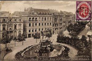 Ak Köln am Rhein, Kaiser Wilhelm Ring mit Denkmal Kaiser Wilhelm I