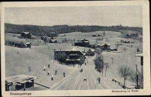 Ak Brückenberg b. Krummhübel Riesengebirge Schlesien, Der Ort im Winter