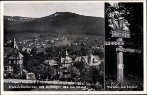 Ak Szklarska Poręba Schreiberhau Riesengebirge Schlesien, Panorama mit Reifträger, Wegweiser