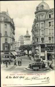 Ak Genève Genf Stadt, Fontaine de l'Escalade et Tour de l'Ile
