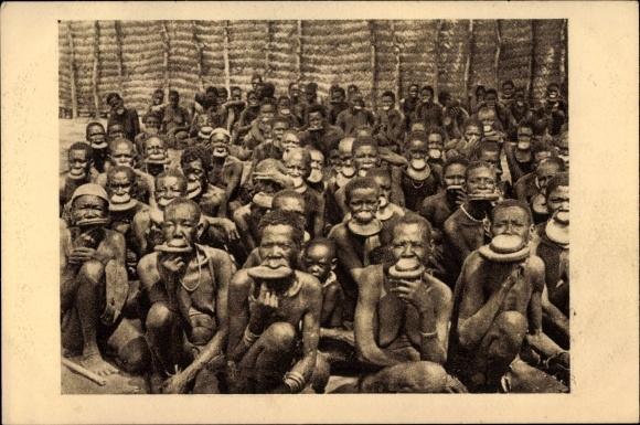 Ak Afrique Equatoriale Francaise, Oubanghi Chari, Groupe de Femmes à plateaux, Lippenscheibe