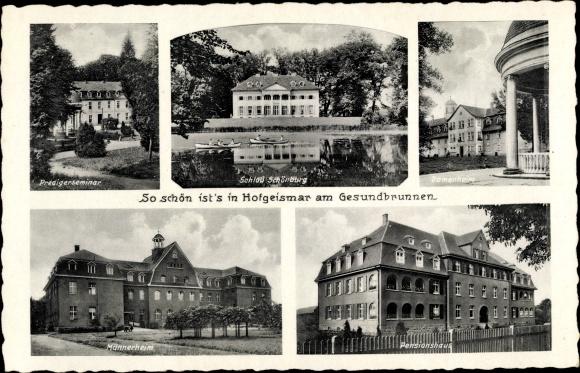 Ak Hofgeismar in Nordhessen, am Gesundbrunnen, Predigerseminar, Schloss Schönburg, Pensionshaus
