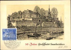 Künstler Ak Schaaf, W., Saarbrücken im Saarland, Saarpartie, 50. Jahresjubiläum der Stadt
