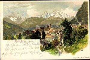 Künstler Litho Strützel, Otto, Berchtesgaden in Oberbayern, Teilansicht vom Ort