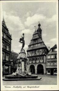 Ak Gießen an der Lahn Hessen, Marktplatz mit Kriegerdenkmal