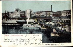 Ak Berlin, Jannowitzbrücke, Dampferstation, Salondampfer, Straßenbahn