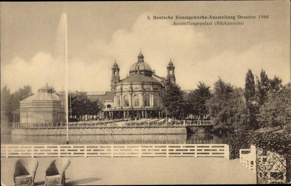 Ak Dresden, 3. Deutsche Kunstgewerbe Ausstellung 1906, Ausstellungspalast