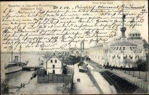 Ak Düsseldorf am Rhein, Gewerbe- und Industrie Ausstellung, Anlegestelle, Bauten der Firma Krupp