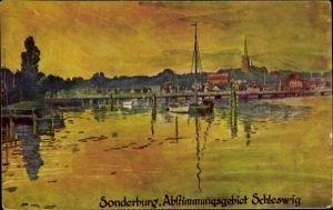 Künstler Ak Sønderborg Sonderburg Dänemark, Abstimmungsgebiet Schleswig, Panorama, Abendstimmung