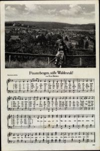 Lied Ak Finsterbergen Friedrichroda Thüringen, Panorama vom Ort, Finsterbergen, süße Waldesruh!