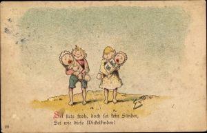 Vorläufer Litho Sei stets froh, doch sei kein Sünder, sei wie diese Wickelkinder, 1892