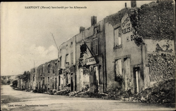 Ak Sampigny Meuse, bombardé par les Allemands, Kriegszerstörungen, I. WK